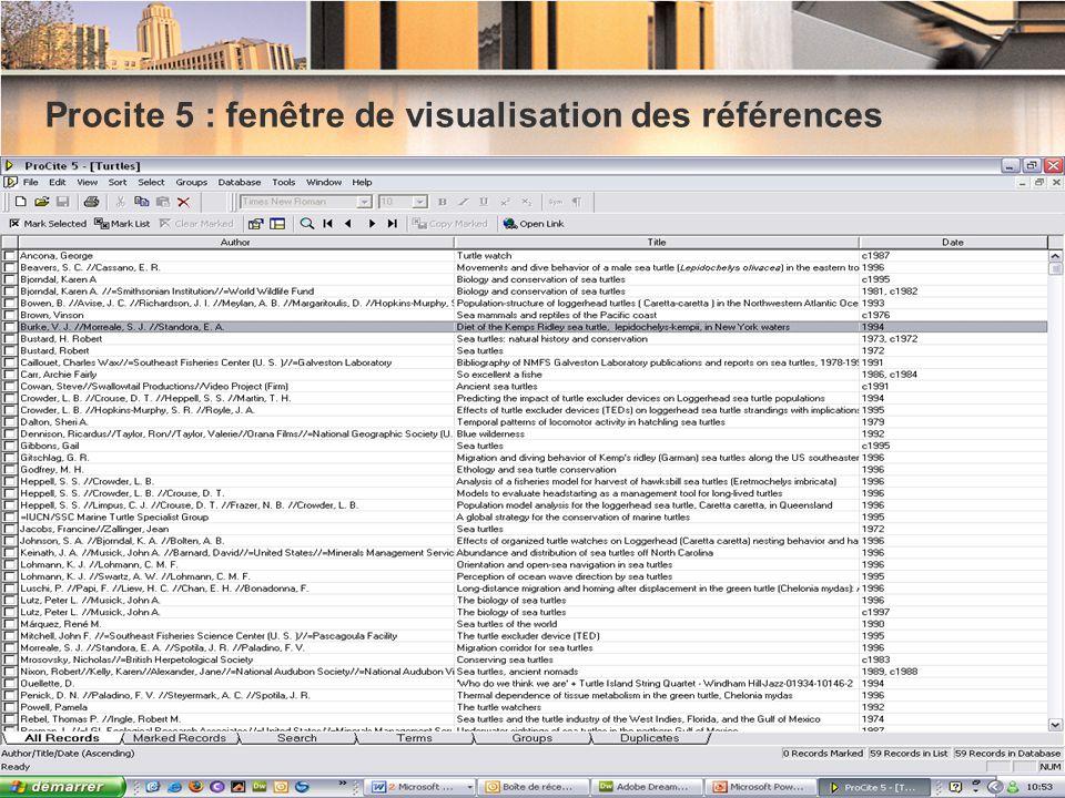 Procite 5 : fenêtre de visualisation des références