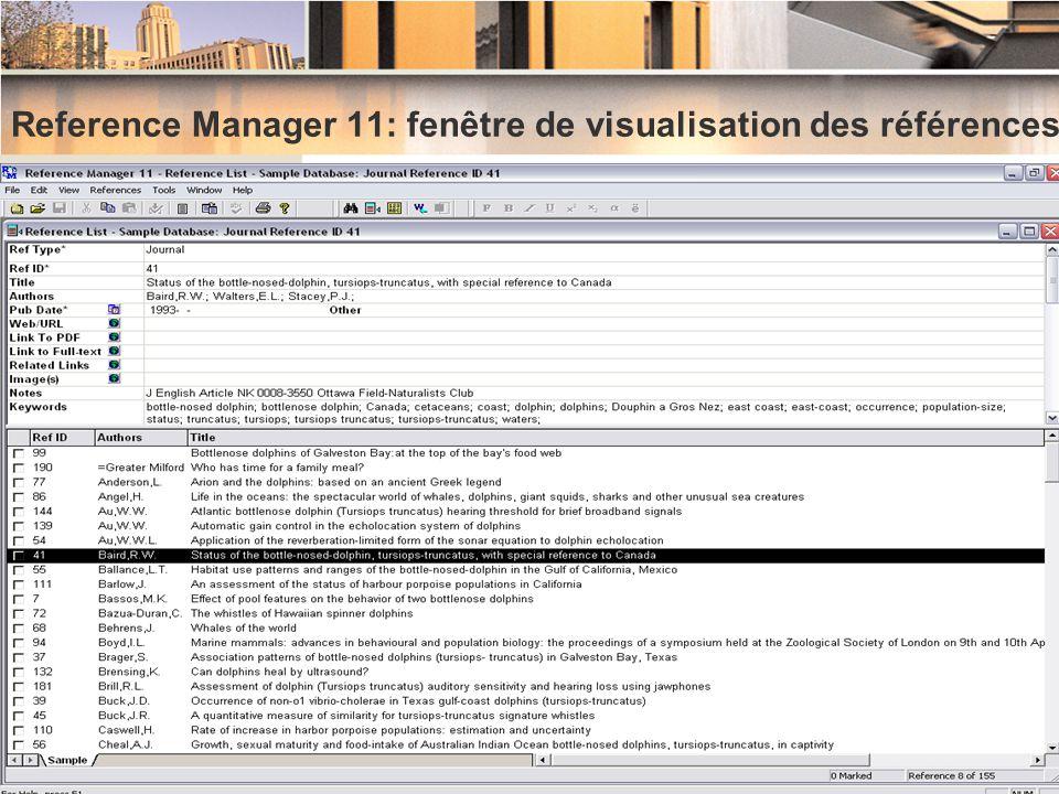 Reference Manager 11: fenêtre de visualisation des références