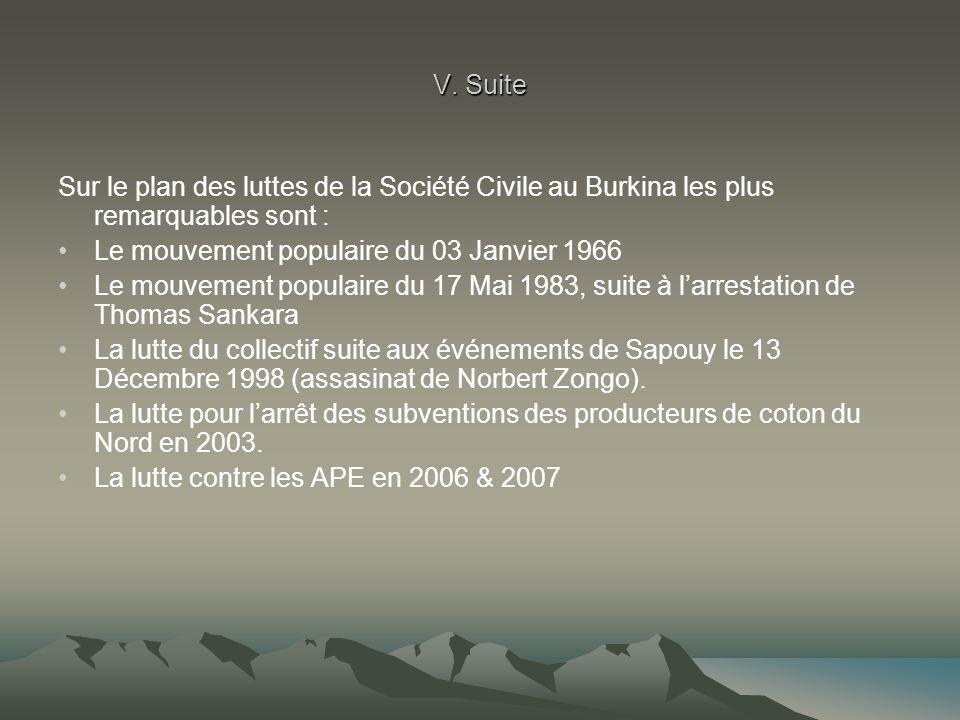 V. Suite Sur le plan des luttes de la Société Civile au Burkina les plus remarquables sont : Le mouvement populaire du 03 Janvier 1966.