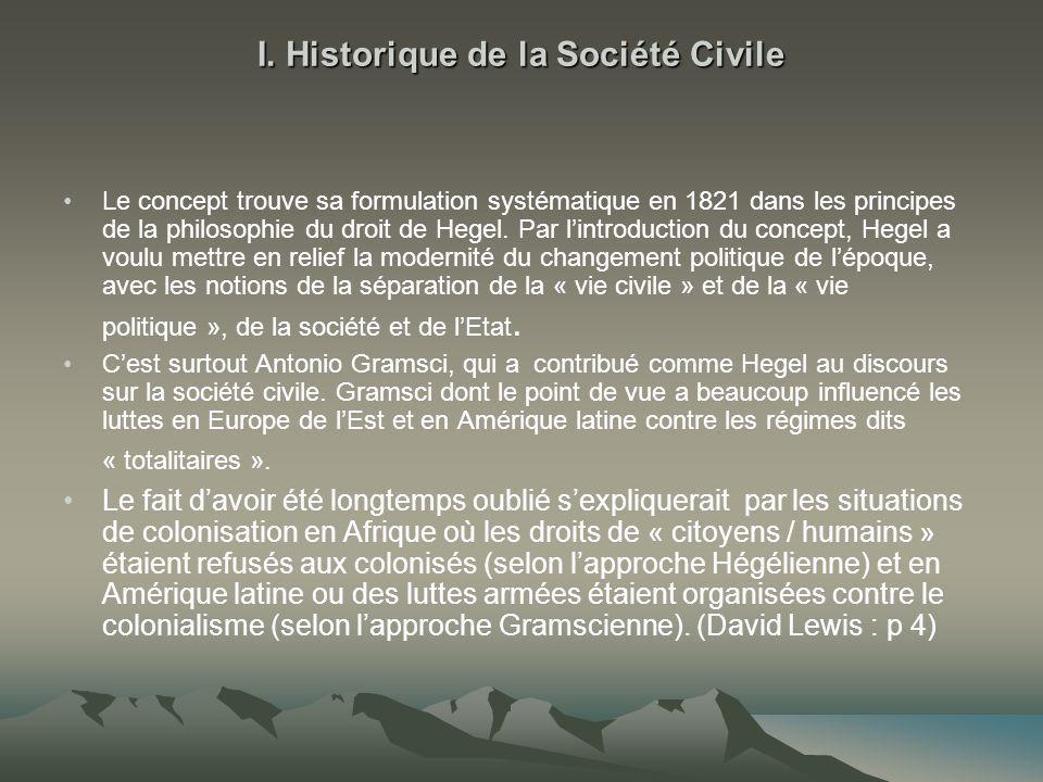 I. Historique de la Société Civile