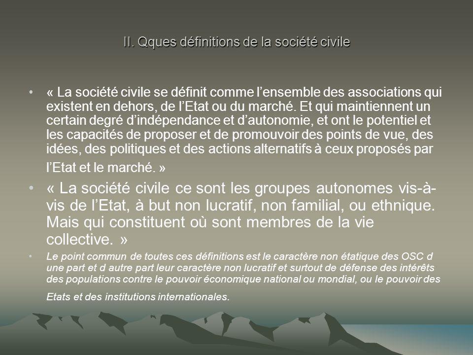II. Qques définitions de la société civile