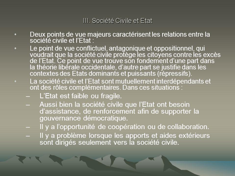 III. Société Civile et Etat