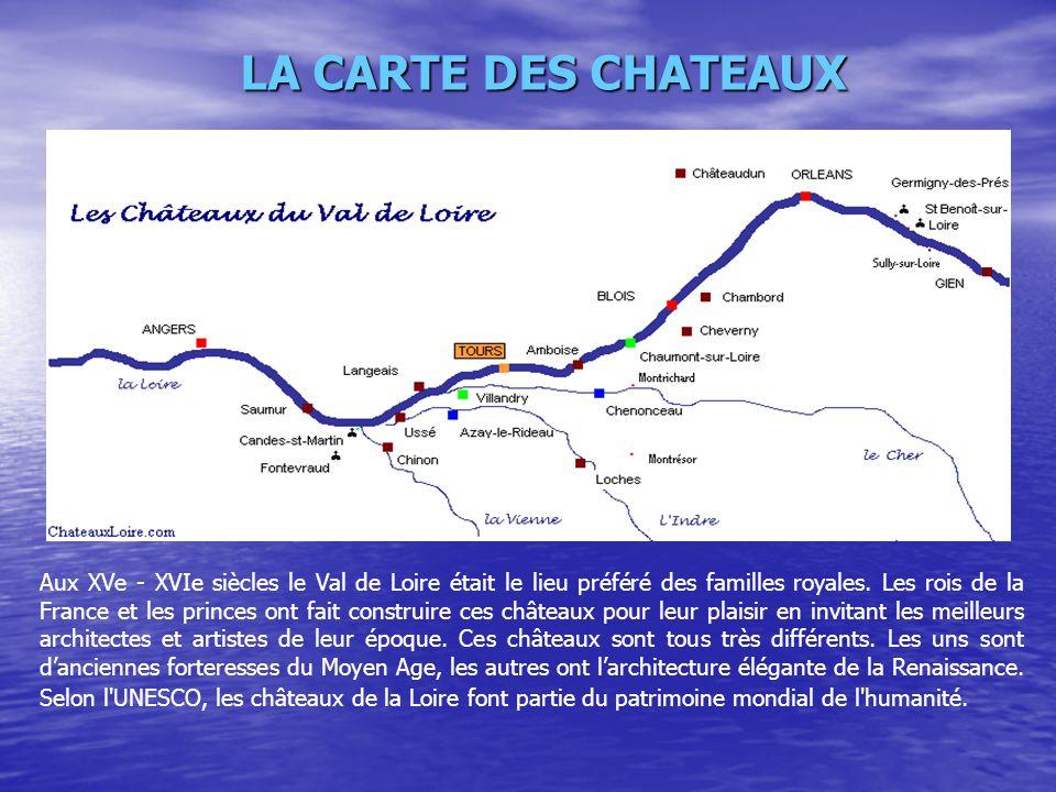 LA CARTE DES CHATEAUX