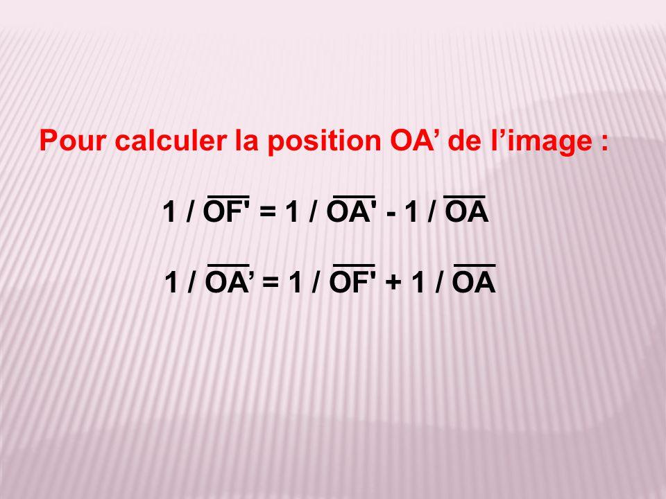 Pour calculer la position OA' de l'image :