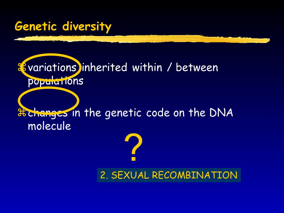 Genetic diversity variations inherited within / between populations