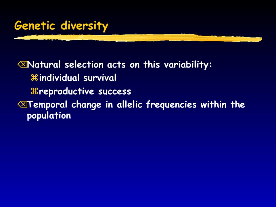 Genetic diversity Natural selection acts on this variability:
