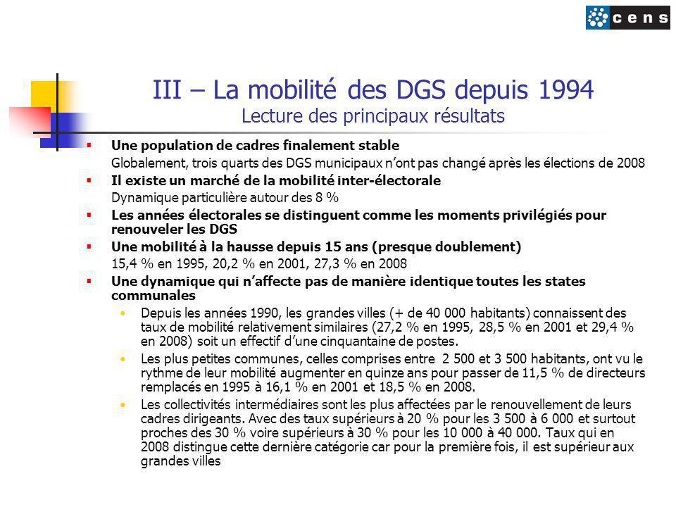 III – La mobilité des DGS depuis 1994 Lecture des principaux résultats
