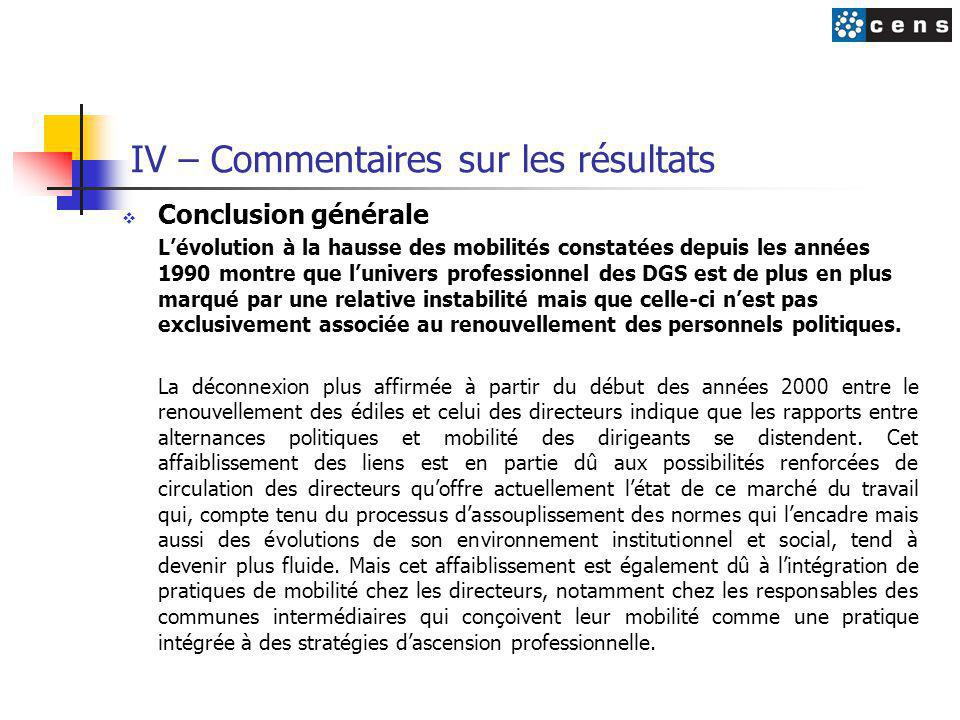 IV – Commentaires sur les résultats