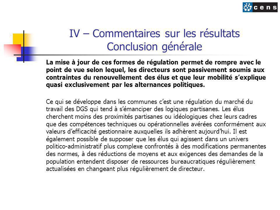 IV – Commentaires sur les résultats Conclusion générale