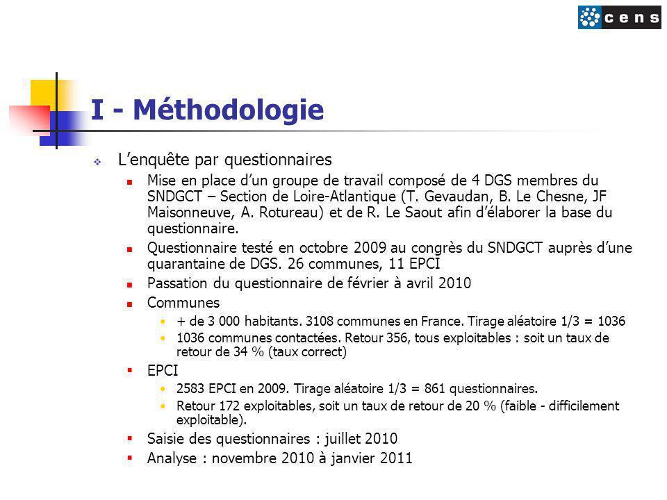 I - Méthodologie L'enquête par questionnaires
