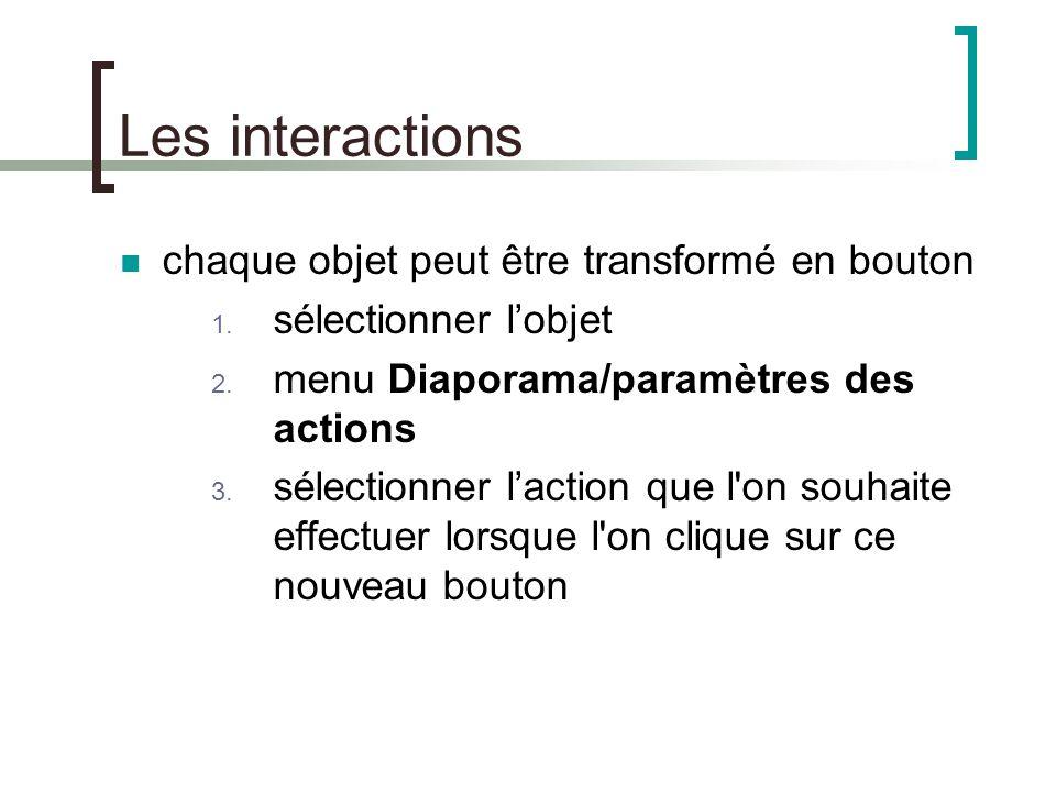 Les interactions chaque objet peut être transformé en bouton
