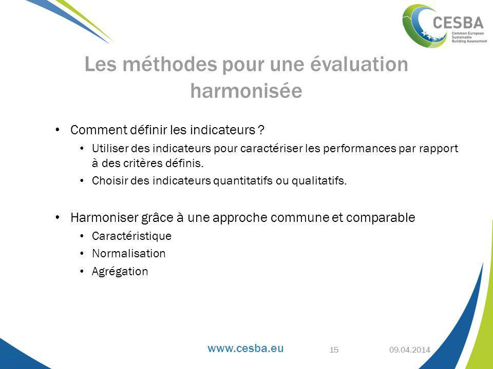 Les méthodes pour une évaluation harmonisée