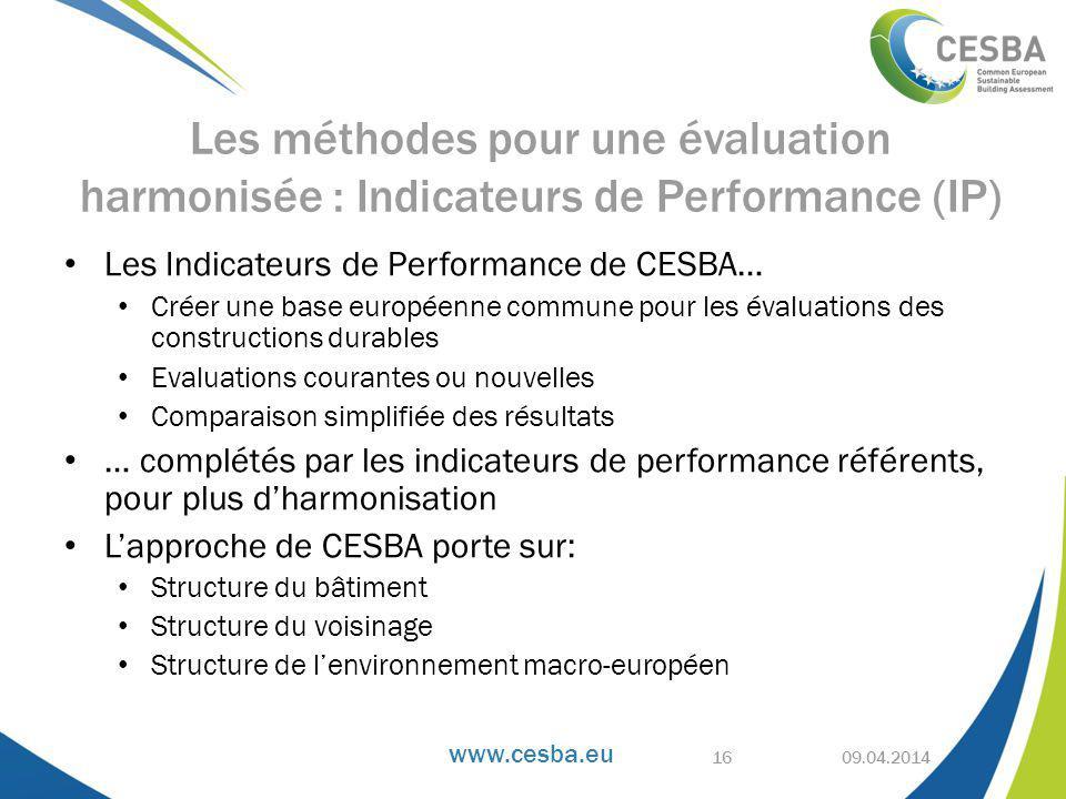 Les méthodes pour une évaluation harmonisée : Indicateurs de Performance (IP)