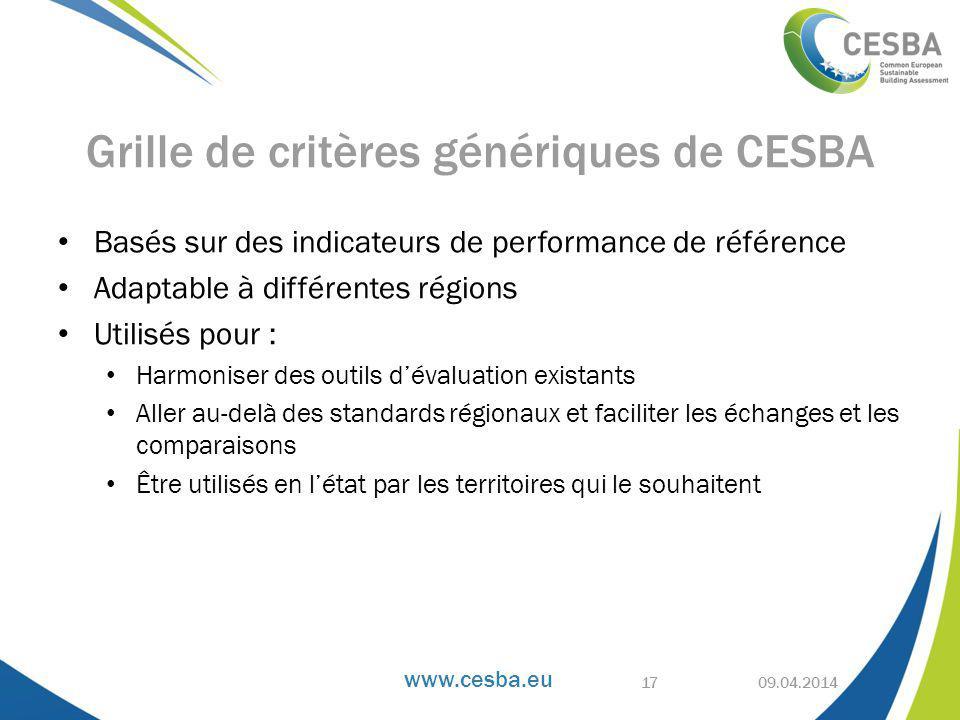 Grille de critères génériques de CESBA
