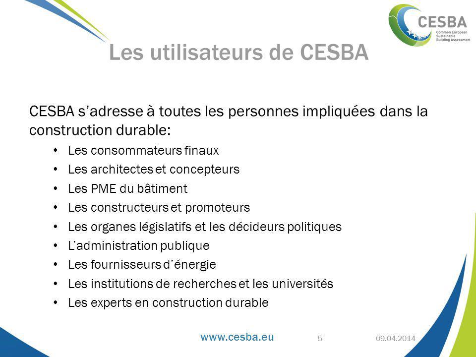 Les utilisateurs de CESBA