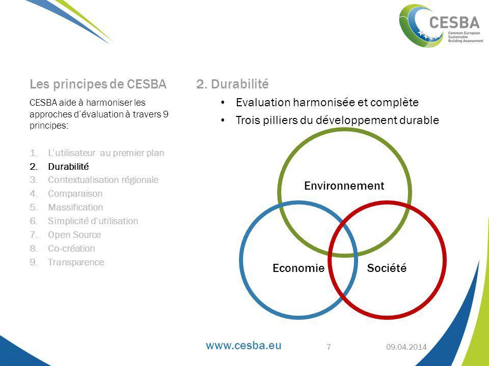 Les principes de CESBA 2. Durabilité Evaluation harmonisée et complète