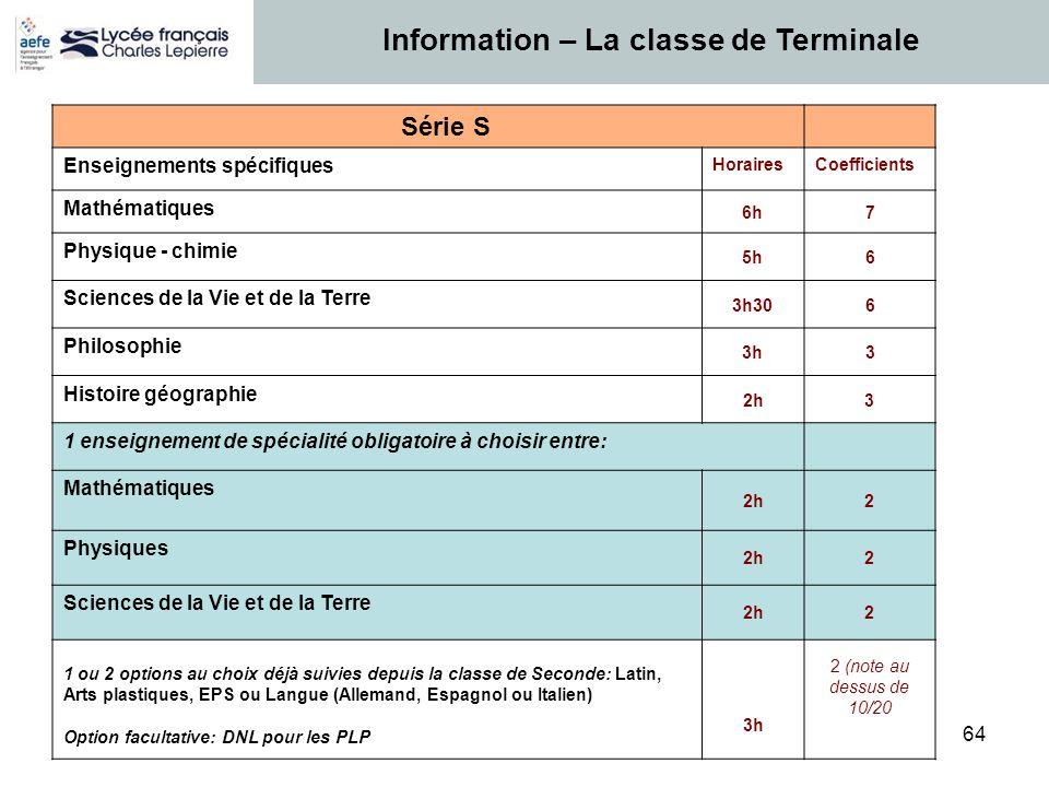 Information – La classe de Terminale