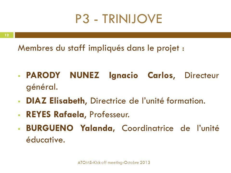 P3 - TRINIJOVE Membres du staff impliqués dans le projet :