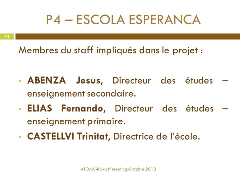 P4 – ESCOLA ESPERANCA Membres du staff impliqués dans le projet :