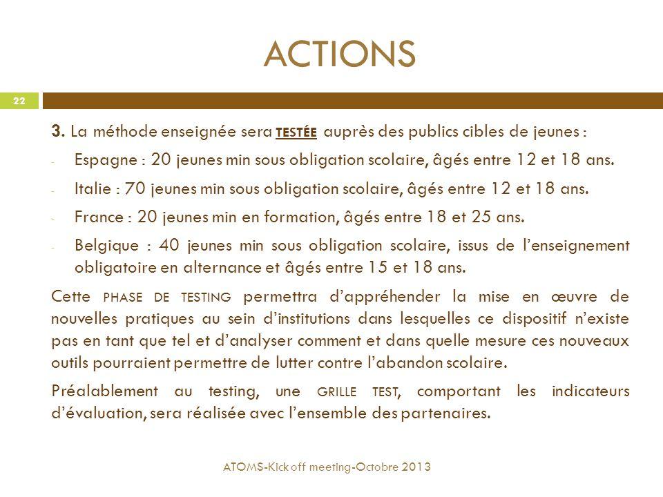 ACTIONS 3. La méthode enseignée sera testée auprès des publics cibles de jeunes :