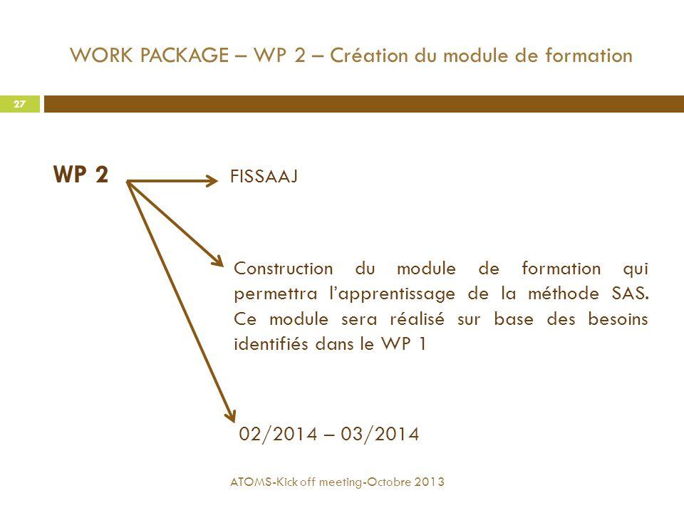WORK PACKAGE – WP 2 – Création du module de formation