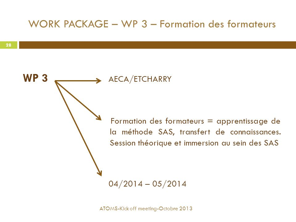 WORK PACKAGE – WP 3 – Formation des formateurs