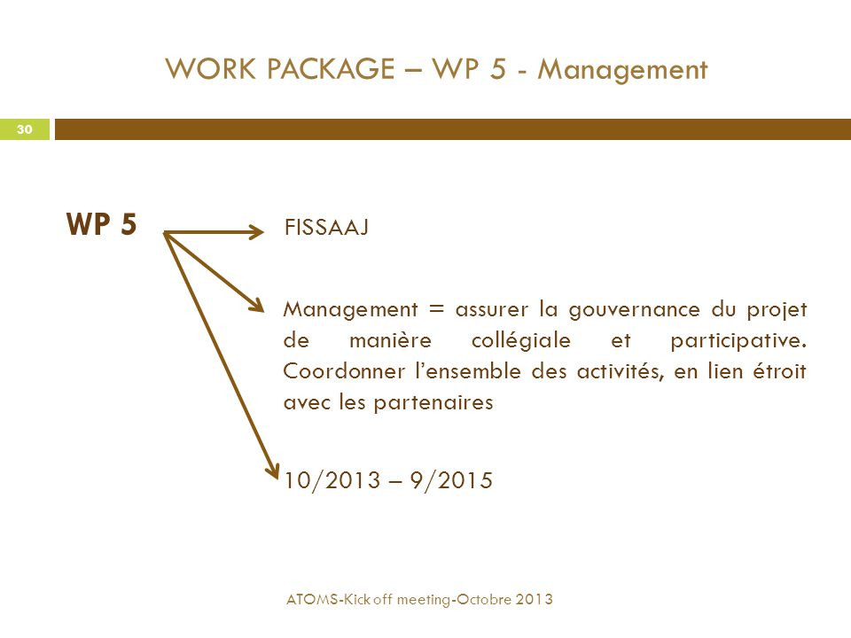 WORK PACKAGE – WP 5 - Management