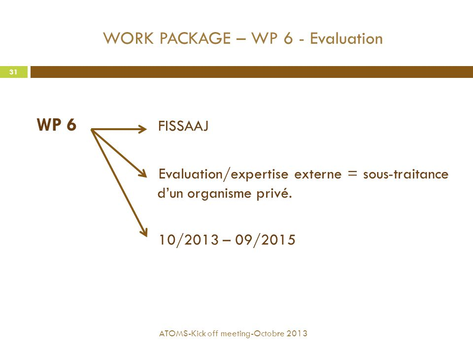 WORK PACKAGE – WP 6 - Evaluation