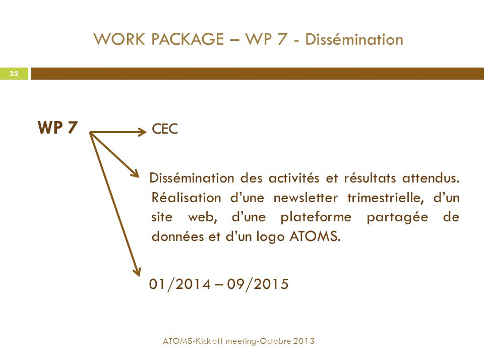 WORK PACKAGE – WP 7 - Dissémination