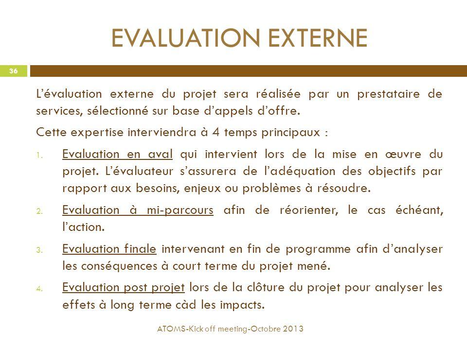 EVALUATION EXTERNE L'évaluation externe du projet sera réalisée par un prestataire de services, sélectionné sur base d'appels d'offre.