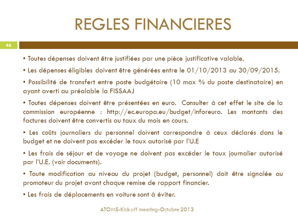 REGLES FINANCIERES