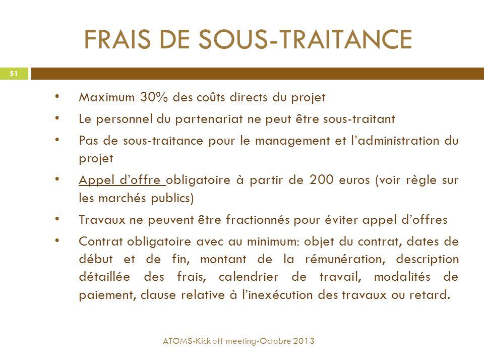 FRAIS DE SOUS-TRAITANCE