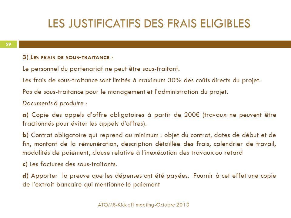 LES JUSTIFICATIFS DES FRAIS ELIGIBLES