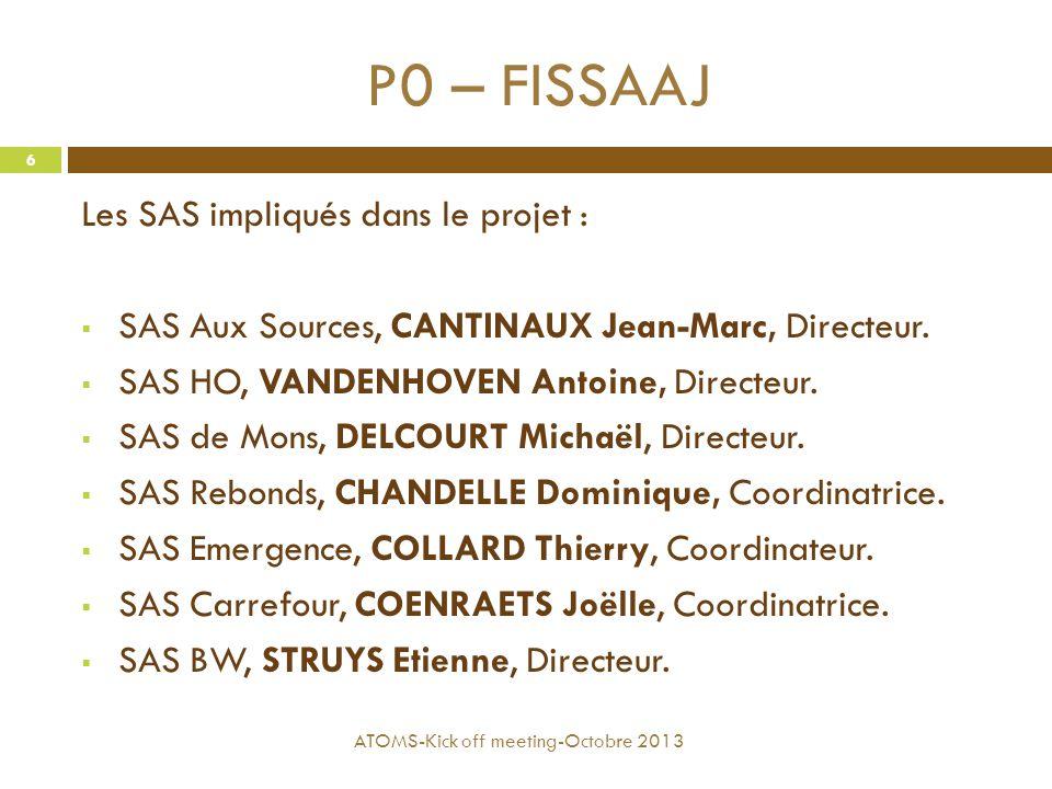 P0 – FISSAAJ Les SAS impliqués dans le projet :
