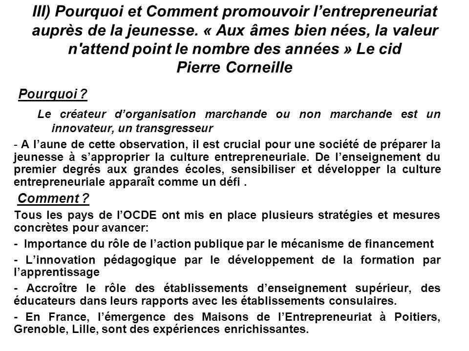 III) Pourquoi et Comment promouvoir l'entrepreneuriat auprès de la jeunesse. « Aux âmes bien nées, la valeur n attend point le nombre des années » Le cid Pierre Corneille