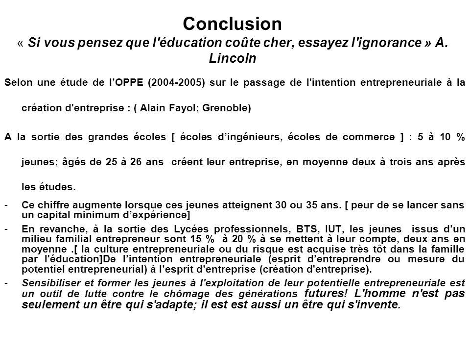 Conclusion « Si vous pensez que l éducation coûte cher, essayez l ignorance » A. Lincoln