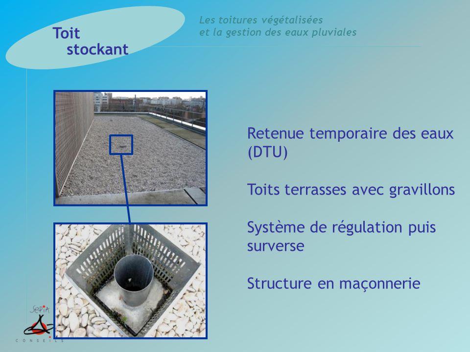 Toit stockant Retenue temporaire des eaux (DTU) Toits terrasses avec gravillons. Système de régulation puis surverse.