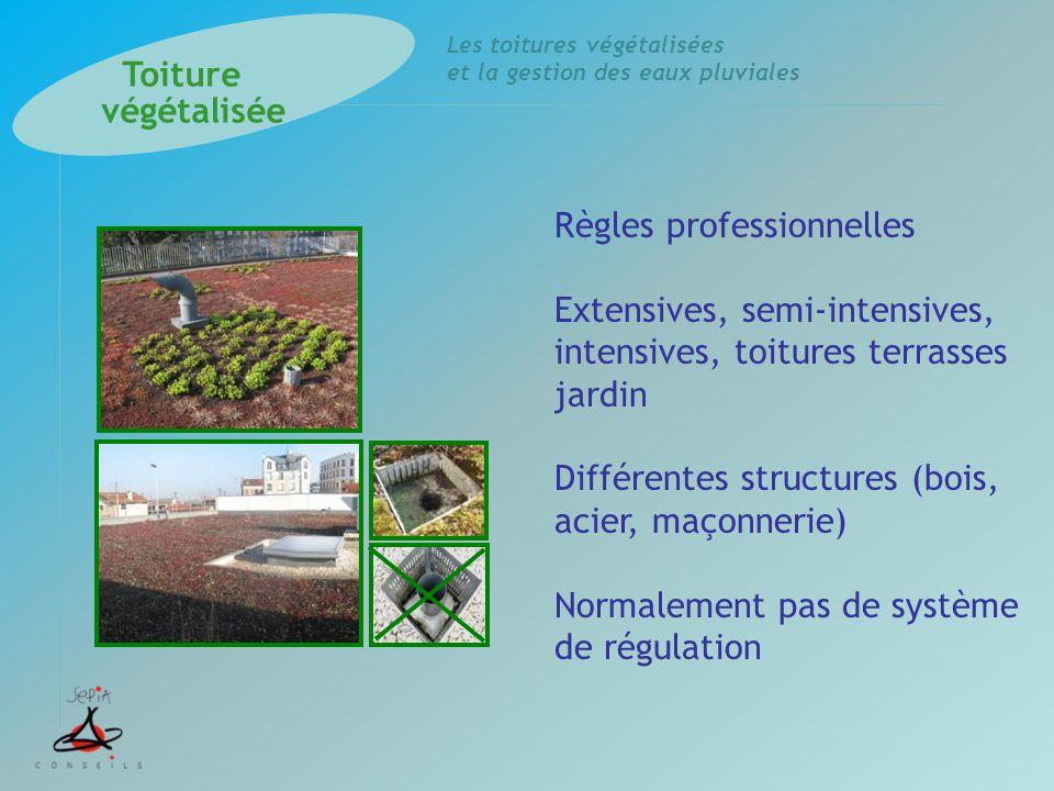 Toiture végétalisée. Règles professionnelles. Extensives, semi-intensives, intensives, toitures terrasses jardin.