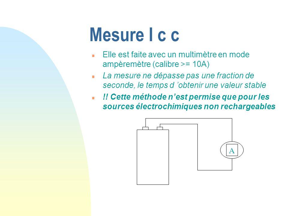 Mesure I c c Elle est faite avec un multimètre en mode ampèremètre (calibre >= 10A)