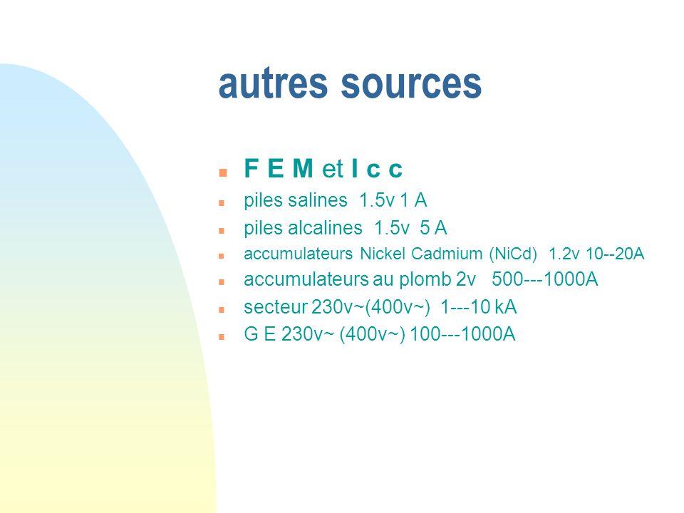 autres sources F E M et I c c piles salines 1.5v 1 A