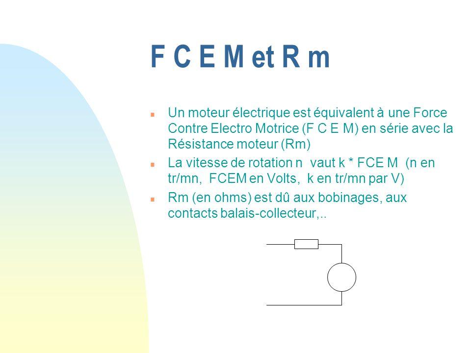 F C E M et R m Un moteur électrique est équivalent à une Force Contre Electro Motrice (F C E M) en série avec la Résistance moteur (Rm)