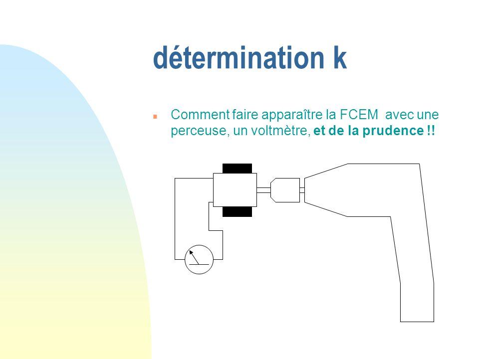 détermination k Comment faire apparaître la FCEM avec une perceuse, un voltmètre, et de la prudence !!