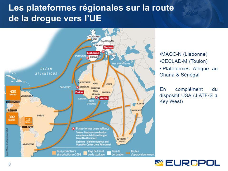 Les plateformes régionales sur la route de la drogue vers l'UE
