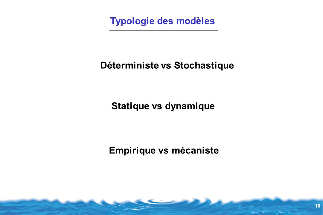 Typologie des modèles Déterministe vs Stochastique Statique vs dynamique Empirique vs mécaniste