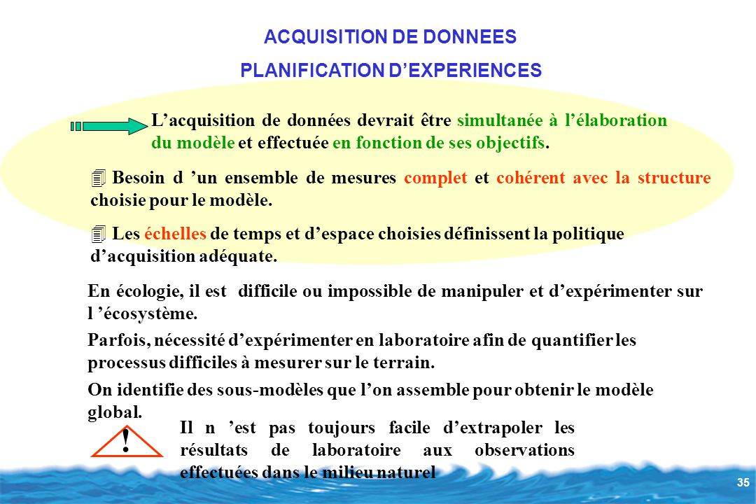 ACQUISITION DE DONNEES PLANIFICATION D'EXPERIENCES