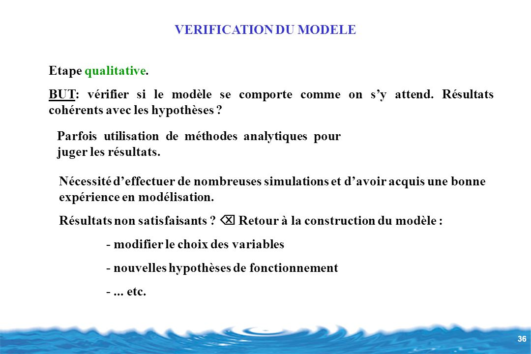 VERIFICATION DU MODELE