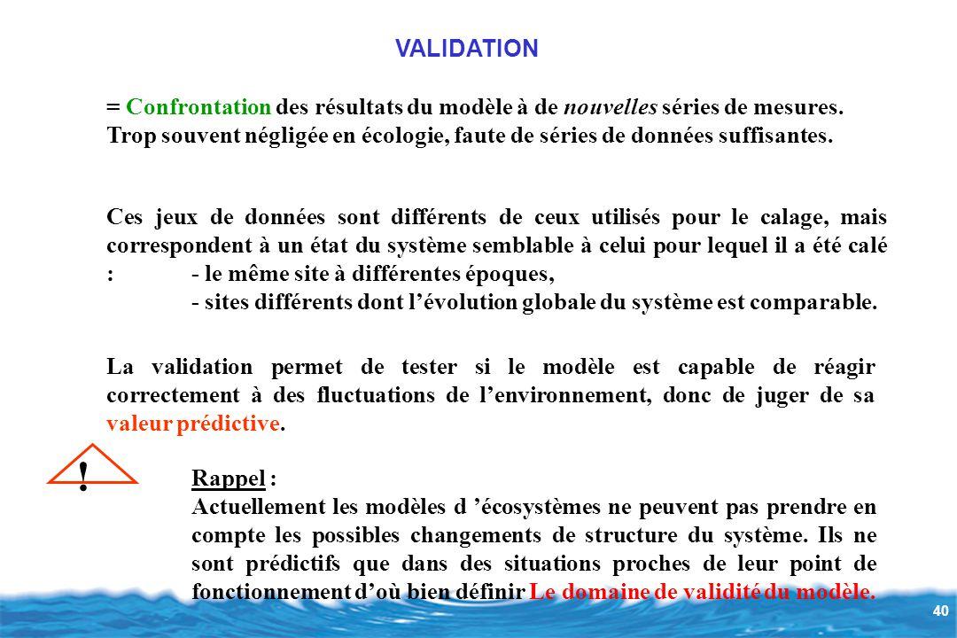 VALIDATION = Confrontation des résultats du modèle à de nouvelles séries de mesures.