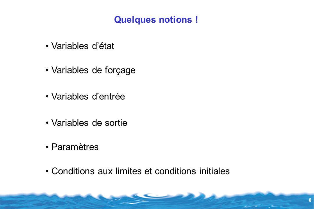 Quelques notions ! Variables d'état. Variables de forçage. Variables d'entrée. Variables de sortie.