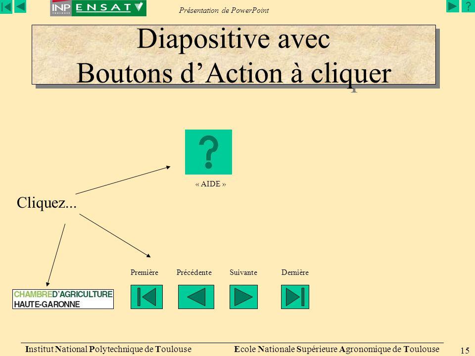 Diapositive avec Boutons d'Action à cliquer