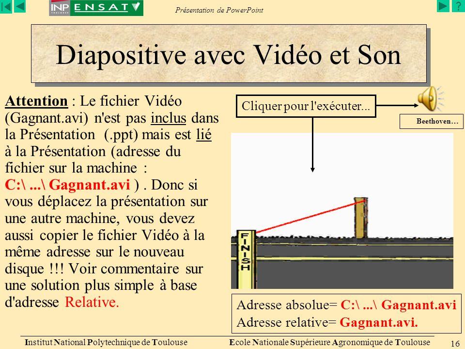 Diapositive avec Vidéo et Son